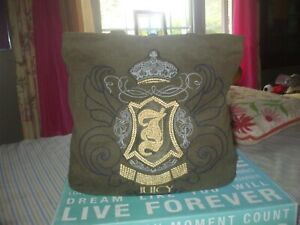 Juicy Couture green canvas w gold metallic embroidery cotton tote shop book bag