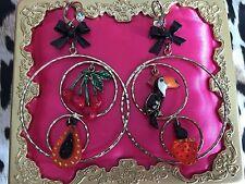 Betsey Johnson Rio Toucan Cherry Papaya Tropical Fruit Lucite Hoop Earrings RARE