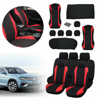 Front Rear Full Set Washable Universal Car Truck SUV Red Seat Covers Protector