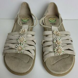 Earth Shoes Gelron 2000 Slip-On Sandals Women's Size US 8.5 Beige with Flowers