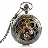 Mens Vintage Bronze Skeleton Mechanical Pocket Watch Hollow Fob Chain Xmas Gift