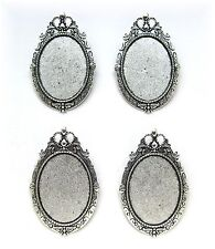 4 Ant. Silvertone ROYAL 40mm x 30mm CAMEO Pin Brooch Pendant Frames Settings