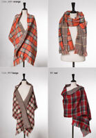 UK Women Winter Blanket Oversize Tartan Scarf Reversible Wrap Check Double side