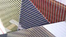 "Carbon Fiber Kevlar Hybrid Fiberglass Panel 6""×60""×1/32"" One Side Glossy Blue"