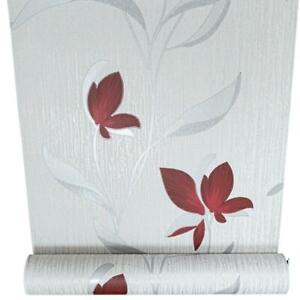 Erismann White Silver Red Floral Metallic Shimmer Glitter Textured Wallpaper