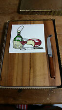 Vintage Wood & Retro Tile Cheese Board & Stainless Steel Knife  MIB