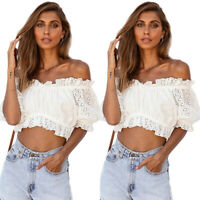 Women Lace Off Shoulder Crop Tops Summer Holiday Party Puff Sleeve Shirts Blouse