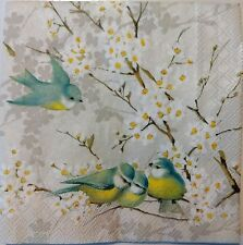 BIRDS CHERRY BLOSSOMS GRAY 2 single LUNCH SIZE paper napkins for decoupage 3-ply