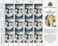 SAN MARINO 2006 ITALIA CAMPIONE DEL MONDO CALCIO MINIFOGLIO LUSSO MNH** NO PIEGA