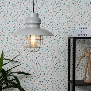 MiniSun Ceiling Light Shade - Vintage Matt Grey Fisherman's Metal Caged LED Bulb