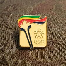 Team Canada 1980 Lake Placid Torch Winter Olympics Pin Stamped 1979