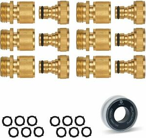 Morvat All Brass Garden Hose Quick Connect, Quick Disconnect Water Hose...