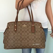 NEW! COACH Khaki Brown Signature PVC Leather Carryall Tote Shoulder Bag Purse