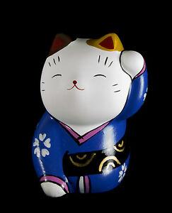 Figurina Gatto Giapponese Bobtail Resina-Maneki-Neko Blu 374 D8