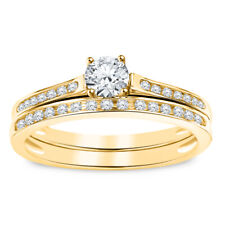 14k Yellow Gold Over 2.20ct Round Cut Diamond Engagement Wedding Bridal Ring Set
