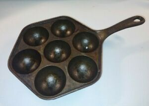 Aebleskiver Cast Iron Cake/Egg/MUFFIN Pan #2 Made in USA