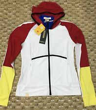 NWT Women's Monreal London Tennis Stretch Hoodie Jacket Color Block Sz Large