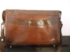 Vintage Brahmin Tanned Leather Basket Weave Crossbody Bag Purse Embossed Brown