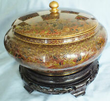 Chinese Cloisonne Lidded Pot/bowl GIANT 11 inches d. and stand