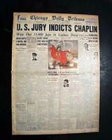 CHARLIE CHAPLIN Mann Act Joan Barry INDICTMENT World War II 1944 WWII Newspaper