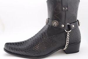 Women Silver Metal Chains Boot Bracelets Shoe Charm Black Straps Spider Web Net