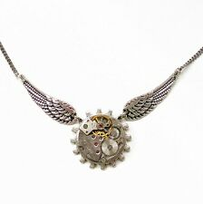 steampunk gothic punk rock choker chain necklace wings watch parts women jewelry