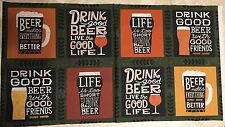 Free ship USA Cheers Beer Mugs FABRIC PANEL 8 BLOCK 100% cotton fabric panel