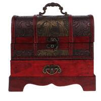 Retro Wooden Jewelry Necklace Storage Box Treasure Chest Organizers Home Decor