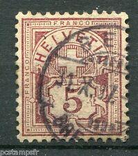 SUISSE SCHWEIZ 1882, timbre CLASSIQUE 65, CROIX CHIFFRE, oblitéré, VF STAMP