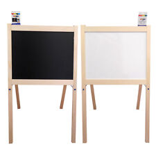 Children's Wooden Toy 2 in 1 Easel, Chalk Drawing Blackboard and Whiteboard
