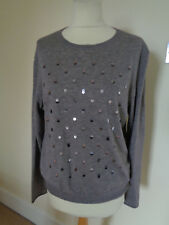 MARC CAIN PALE BROWN WOOL JUMPER WITH SEQUIN DETAIL
