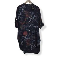 LINEN FLORAL SHIRT DRESS Navy Blue Made In Italy Lagenlook  UK Size 14 16 18 20