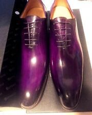 Carrucci Royal Purple Calfskin Burnished Toe Oxford Lace Up Dress Shoes SZ10.5