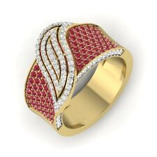 Beautiful 1Ct Round Cut Ruby Diamond Cluster Cocktail Ring 14K Yellow Gold FINSH