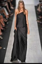 NWT BCBG MAXAZRIA RUNWAY LONG BLACK GOWN DRESS ONE SHOULDER  Size 0