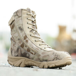 Men Military Boots Waterproof Leather Army Boots Desert Safety Work Shoes 2019
