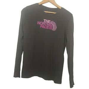The North Face Women's M Long Sleeve Shirt Gray Pink Mandala Lotus Flower EUC