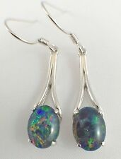 Australian Lightning Ridge Opal Triplet Opal Drop Earrings Sterling Silver