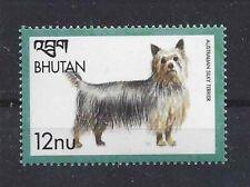 Dog Art Body Portrait Postage Stamp Australian Silky Terrier Bhutan Mnh