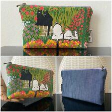 New VTG 60s 70s Snoopy Flower Garden Wall Cute Black Cats Makeup Bag Case Retro