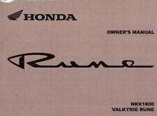 2004 HONDA VALKYRIE RUNE NRX1800 MOTORCYCLE OWNERS MANUAL -NRX 1800