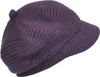 6d68d2b5bc4 Women s Brim Beanie Angora Blend Knitted Hat Lined Cap Thick Taupe ...
