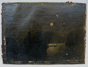 """Ölstudie Ölgemälde um 1900  """"Mondscheinstimmung"""" unbekannter Künstler"""