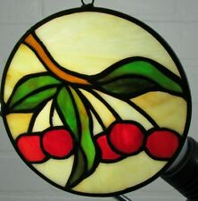"""Handmade Stained Glass Cherries Sunchatcher OrnamentRound 5.5"""" Lovely~6"""" Chain"""