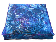 "35"" Large Skull Multi Mandala Indian Floor Pillow Cushion Cover Dog Bed Covers"