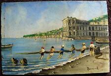Italia Bahía de Nápoles Palazzo Donn' Anna petróleo a bordo cifras de pesca firmado