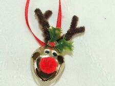 Vintage Hand Made Rudolph Sleigh Bell Christmas Necklace on Silk Ribbon Chord