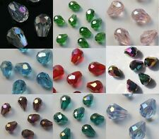 Free Shipping 100pcs mixed color glass crystal teardrop spacer beads 8x6mm
