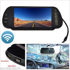 "12-24V 7"" TFT LCD 16:9 Wirelss bluetooth MP5 Fm Autos Espejo Retrovisor Monitor HD"