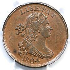 1804 C-12 R-2 PCGS AU 58 CAC Draped Bust Half Cent Coin 1/2c